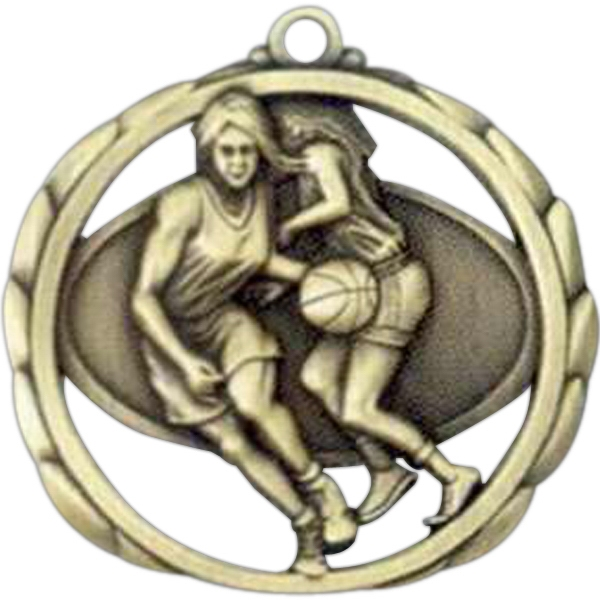 "Female Basketball - Stock Sculptured Medal With Smooth Back And Jump Rings, 2 3/8"" Photo"