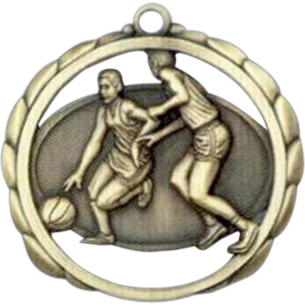 "Male Basketball - Stock Sculptured Medal With Smooth Back And Jump Rings, 2 3/8"" Photo"
