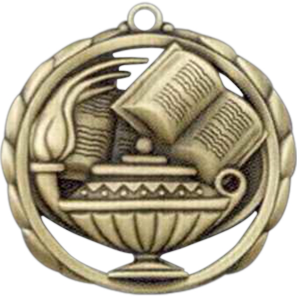 "Book And Lamp - Stock Sculptured Medal With Smooth Back And Jump Rings, 2 3/8"" Photo"