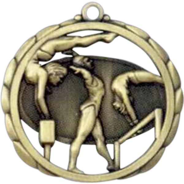 "Female Gymnastics - Stock Sculptured Medal With Smooth Back And Jump Rings, 2 3/8"" Photo"