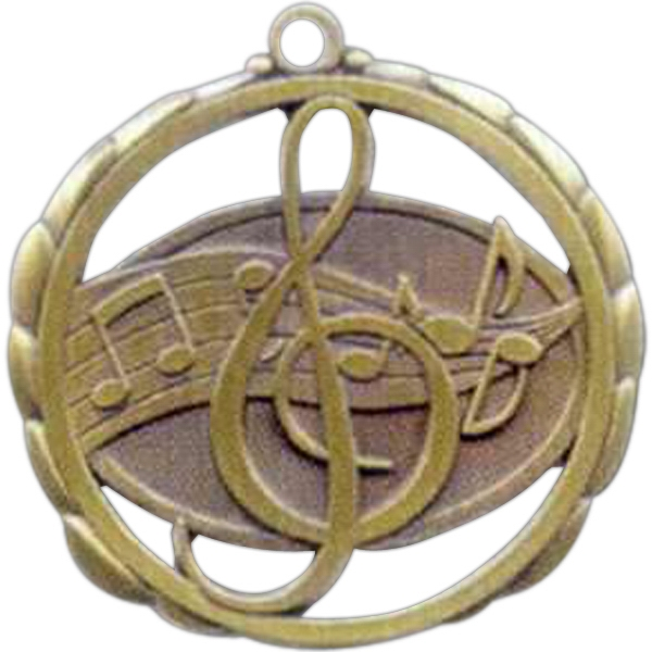 "Music - Stock Sculptured Medal With Smooth Back And Jump Rings, 2 3/8"" Photo"