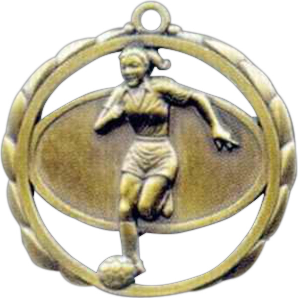 "Female Soccer - Stock Sculptured Medal With Smooth Back And Jump Rings, 2 3/8"" Photo"