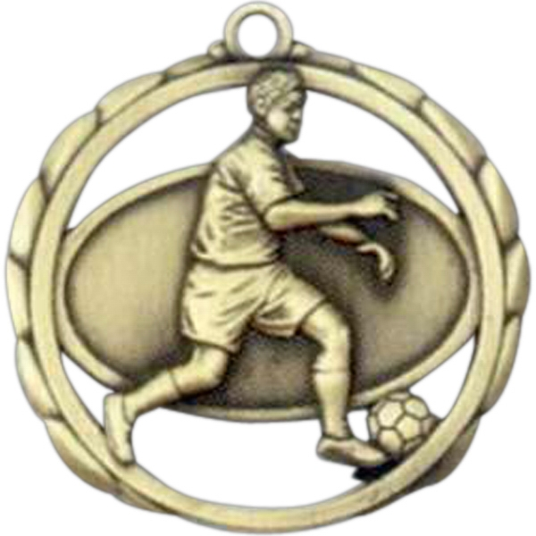 "Male Soccer - Stock Sculptured Medal With Smooth Back And Jump Rings, 2 3/8"" Photo"