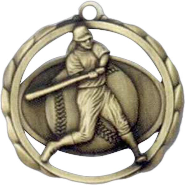 "Female Softball - Stock Sculptured Medal With Smooth Back And Jump Rings, 2 3/8"" Photo"