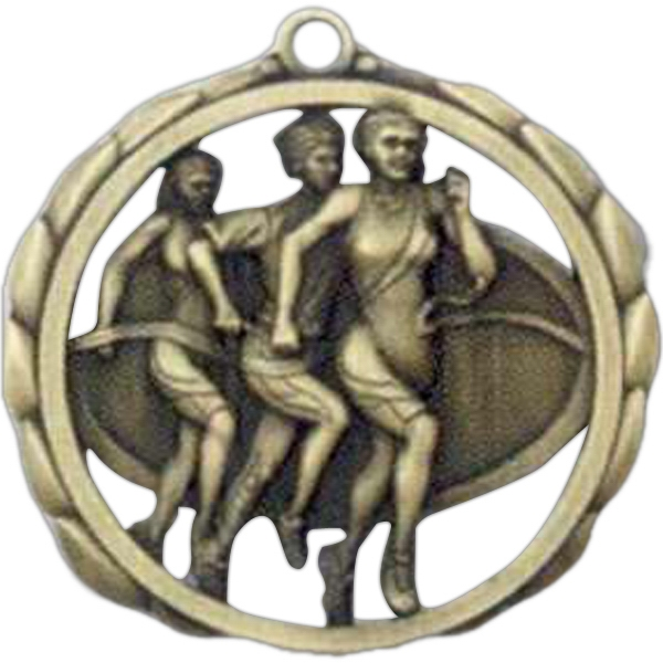 "Female Track - Stock Sculptured Medal With Smooth Back And Jump Rings, 2 3/8"" Photo"