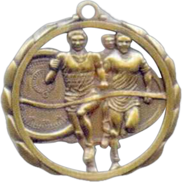 "Male Track - Stock Sculptured Medal With Smooth Back And Jump Rings, 2 3/8"" Photo"