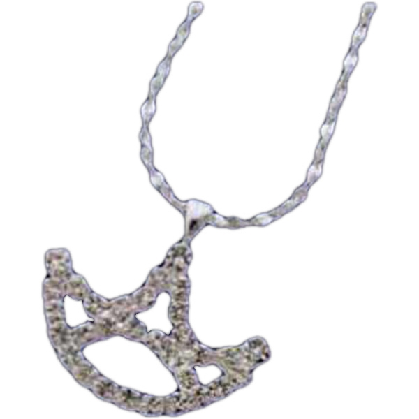 Necklace With A Rhinestone Crown Shape Pendant On Chain Photo