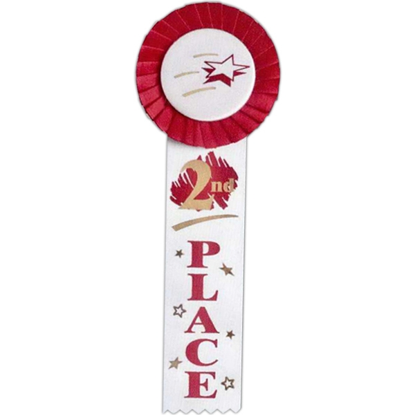"2nd Place - Multicolor Stock Rosette Ribbon With 2"" X 8"" Streamer And String Back Photo"