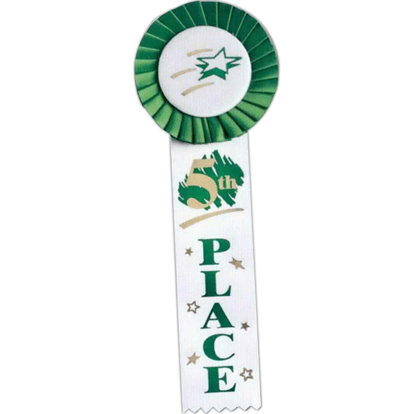 "5th Place - Multicolor Stock Rosette Ribbon With 2"" X 8"" Streamer And String Back Photo"