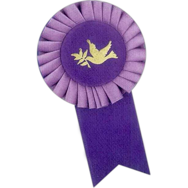 "Custom Rosette Ribbon With 3"" Head Diameter And 1 5/8"" X 3 1/2"" Streamer Size Photo"