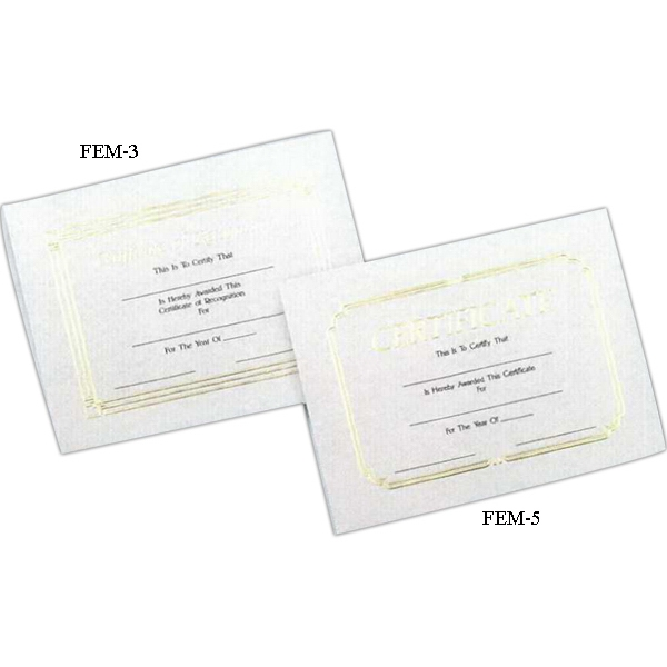 "Recognition - Stock Certificate With Foil Embossed Border And Heading, 8 1/2"" X 11 Photo"