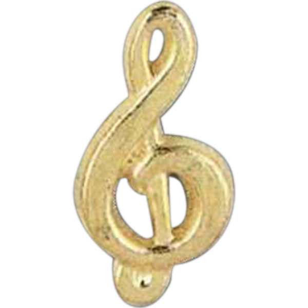 Treble Clef - Stock Design Award Pin With Clutch Back Attachment For Secure Mounting Photo