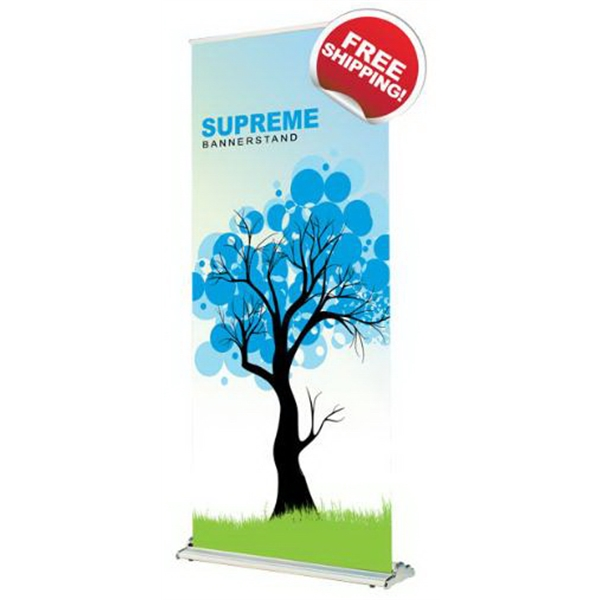 "Supreme 1200 retractable bannerstand - Supreme Bannerstand Features Replaceable Graphic Cartridge, 47"" x 85"" size."