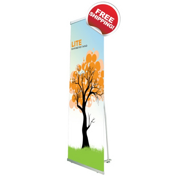 "Lite 1000 bannerstand - Lightweight non retractable banner stand with satin graphics, 39.4"" x 85""."