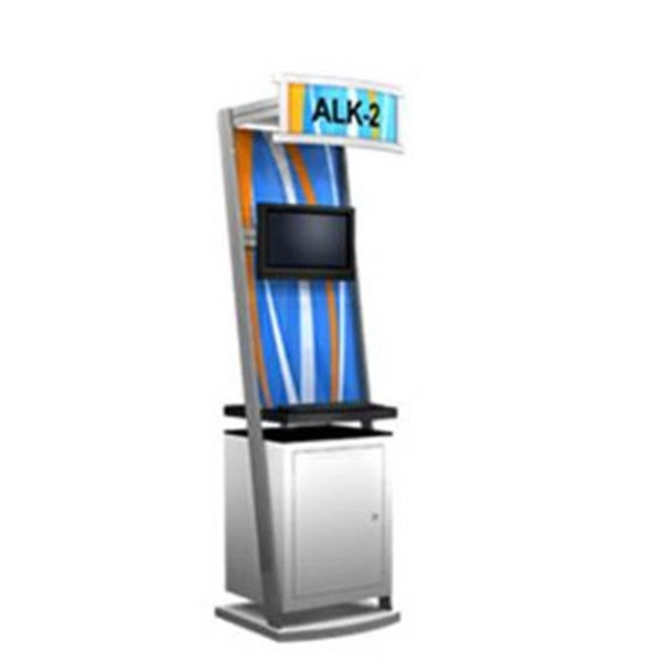 Alumalite ALK-2 Kiosk - Portable modular kiosk with illuminated header and Aluminum frame.