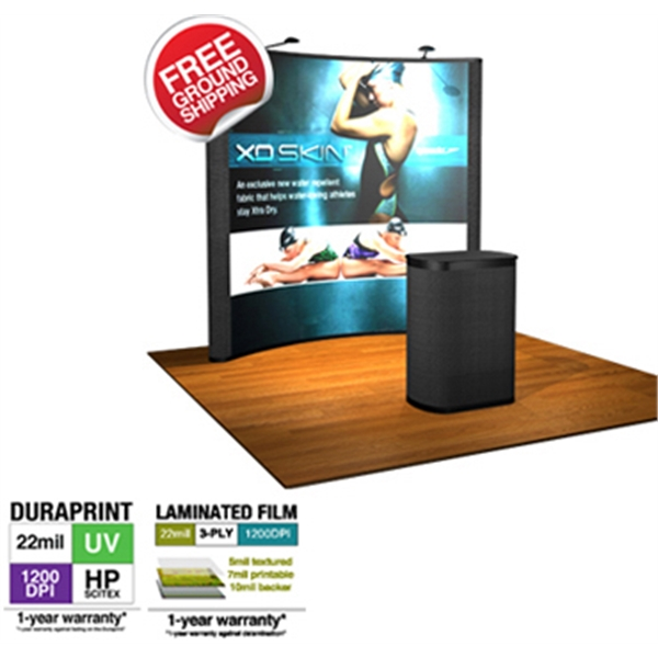 8' Curved Pop-Up Graphic/Fabric Kit - 8 ft. pop up display with frame and 3 graphic and 2 fabric panels.