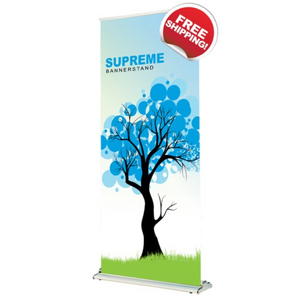 Supreme 1000 Bannerstand - SupremeBannerstand with adjustable base feet and graphics printed on satin material.