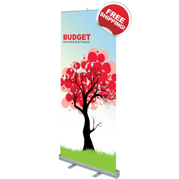 "Budget 850 Bannerstand - Budget Retractable Bannerstand with aluminum base and satin graphics, 33.5"" x 79""."