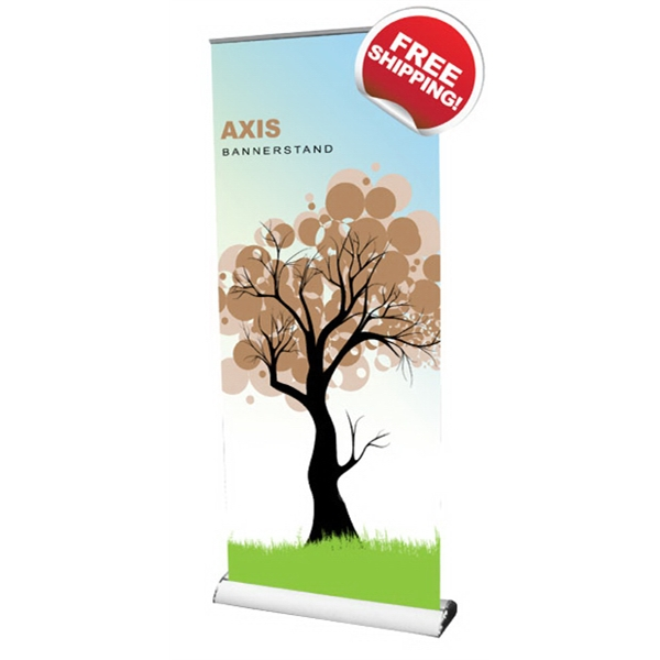 "Axis 850 Bannerstand - Axis Retractable banner-stand with clamp on top profile, 33.5"" x 79""."