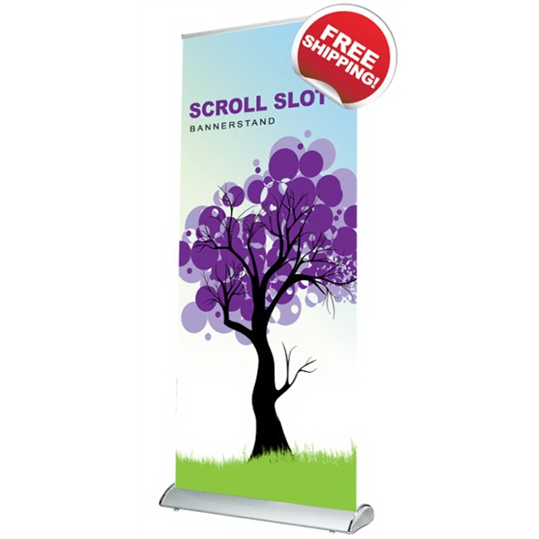 "Scroll Slot 850 Bannerstand - Retractable scroll slot banner stand with satin material graphics, 33.5"" x 85""."