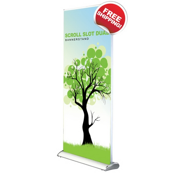 "Scroll Slot Dual 850  Bannerstand - Scroll slot dual banner stand with dual-sided satin graphics, 33.5"" x 85""."