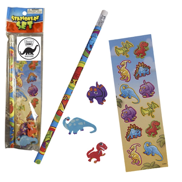 Stationery Set; With A Dinosaur Full Size Pencil, Sheet Of Stickers And 3 Erasers Photo
