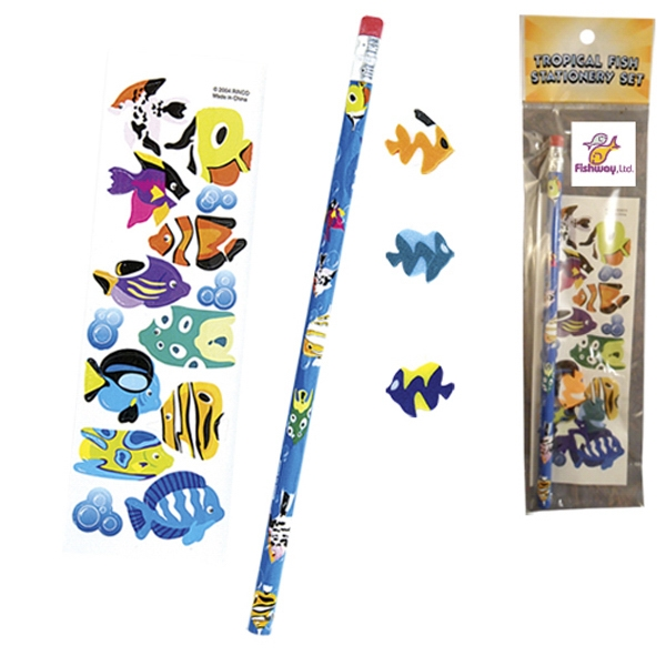 Stationery Set; With Tropical Fish On A Pencil, Sheet Of Stickers And 3 Erasers Photo