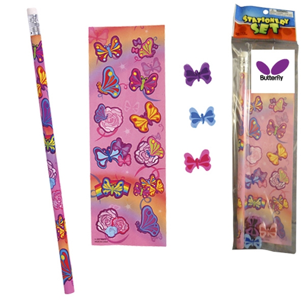 Stationery Set; A Butterfly On A Full Size Pencil, Sheet Of Stickers And 3 Erasers Photo