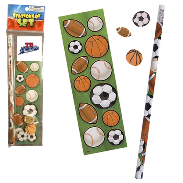 Stationery Set; With Sport Balls On A Pencil, Sheet Of Stickers And 3 Erasers Photo