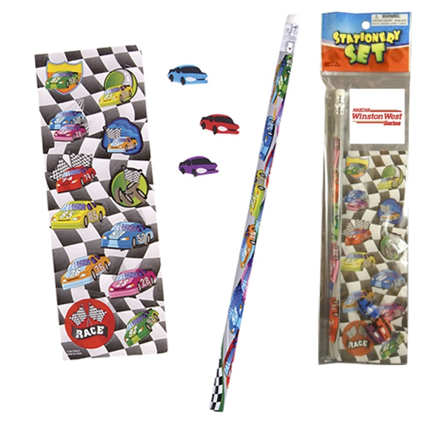 Stationery Set; With Racing Cars On A Pencil, Sheet Of Stickers And 3 Erasers Photo