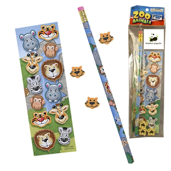 Stationery Set; With Zoo Animals On A Full Size Pencil, Sheet Of Stickers & Erasers Photo