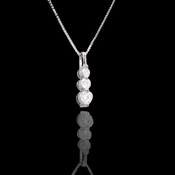 "Antwerp Diamonds Shared-Prong ""Trilogy"" Necklace"