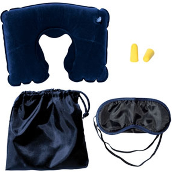 Travel Pillow Kit W/Ear Plugs & Eye Mask