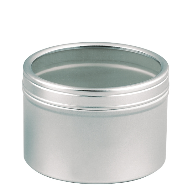 Metal Tin With Clear Plastic Window Lid Photo