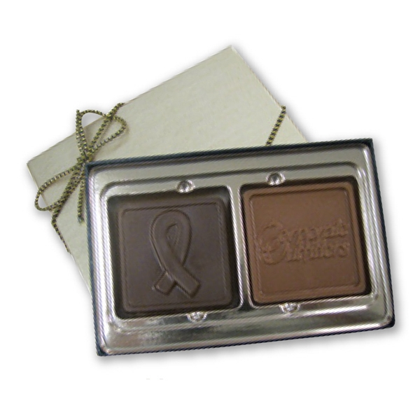 Custom Molded Chocolate Breast Cancer Ribbon Shape Box