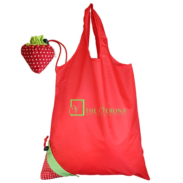 Morph - Tote Bag Morphs Into Its Own Strawberry Shaped Drawstring Pouch Photo
