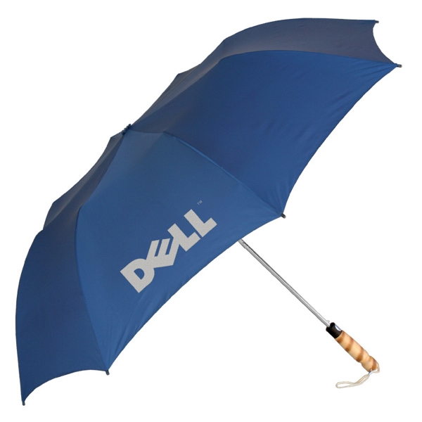 "Folding Golf Umbrella With A 60"" Arc Metal Shaft, Wood Handle And Matching Sleeve Photo"
