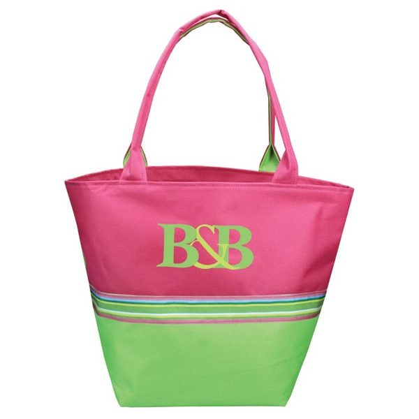 Nantucket - Tote Bag With Structured Bottom, Two Tone With Ribbon Detail Photo
