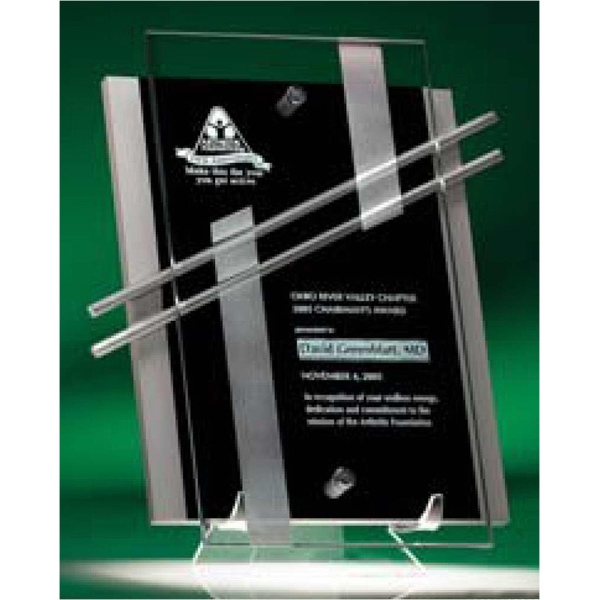 Nova (tm) - Plaque Award Is Made Of Lacquered Wood And Suspended Glass Photo