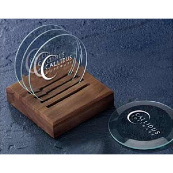 Beveled Coasters Made Of Glass And Optic Crystal With Caddy - 5 Piece Set Photo
