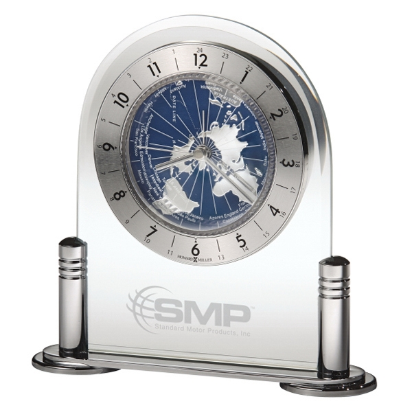 Discoverer - Polished Silver-tone Clock With A Metal Base And Columns Photo