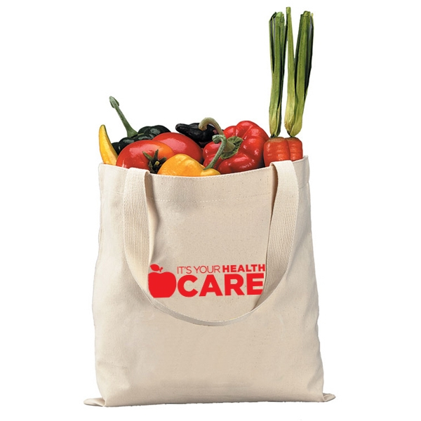 12 Oz. Canvas Tote Bag With Web Handles. Reinforced At Stress Points Photo