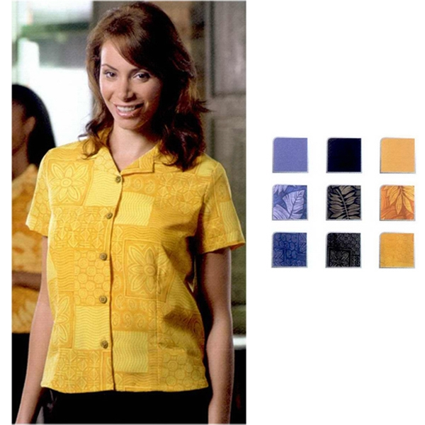South Sea - Women's Geometric Print Short Sleeve Camp Shirt With Coconut Buttons. Close Out Photo