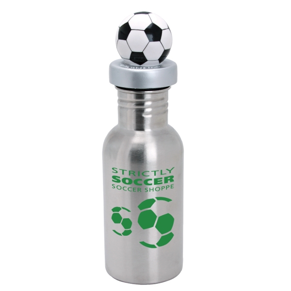 Nichebottle (tm) - Stainless Steel Sports Bottle With Soccer Lid, 17 Oz Photo