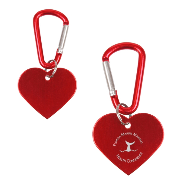 Classic Military-style Heart Dog Tag With Functional Mini-carabiner Attachment Photo