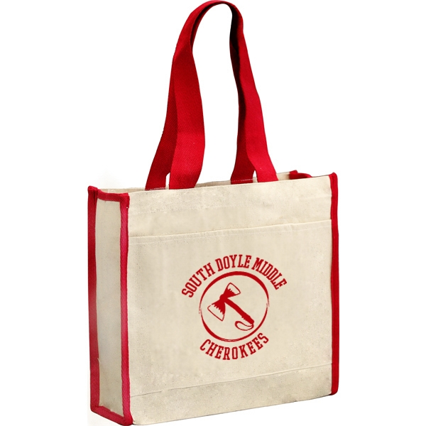 12 Oz. Cotton Canvas Tote Back With Front Pocket And 24 Inch Handles Photo