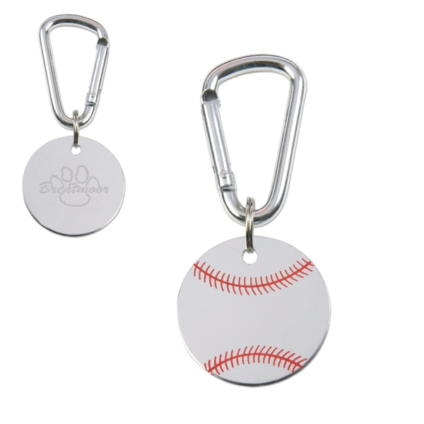 Classic Military-style Baseball Dog Tag With Functional Mini-carabiner Attachment Photo