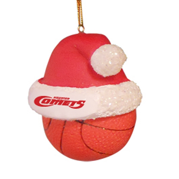 Basketball - Sport Shape Resin Ornament With Santa Hat Photo