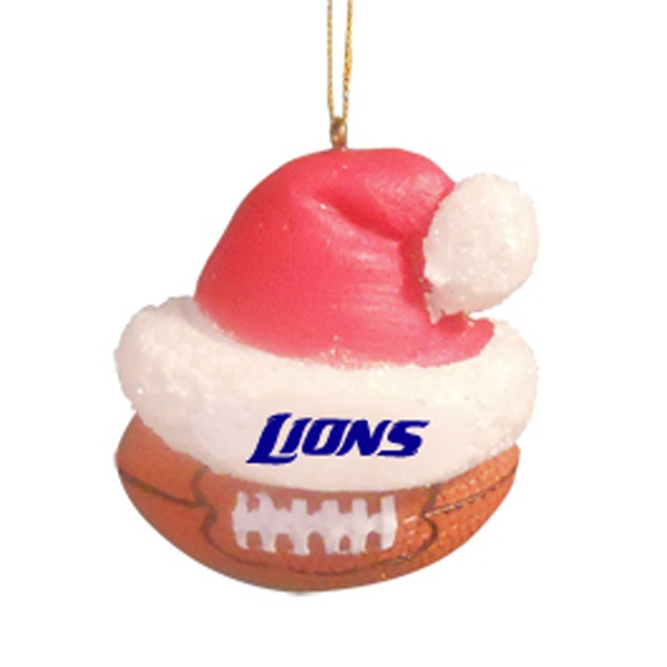Football - Sport Shape Resin Ornament With Santa Hat Photo