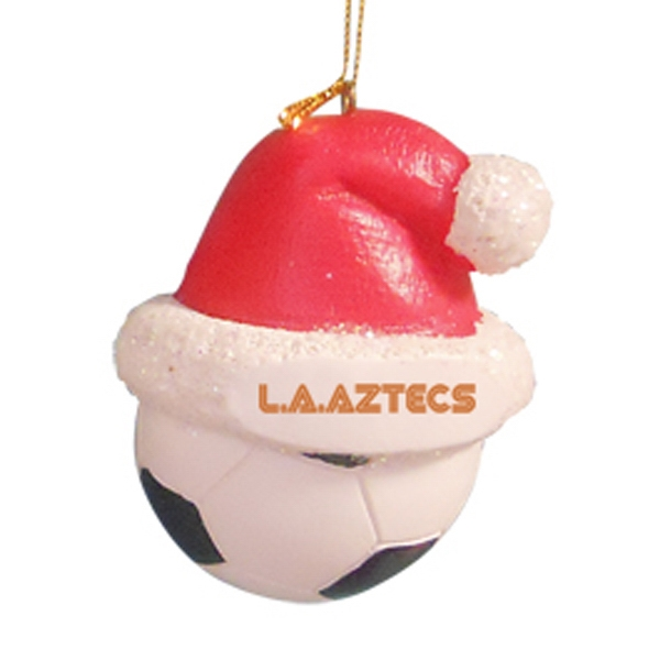 Soccer Ball - Sport Shape Resin Ornament With Santa Hat Photo